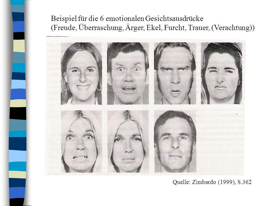 Beispiel für die 6 emotionalen Gesichtsausdrücke