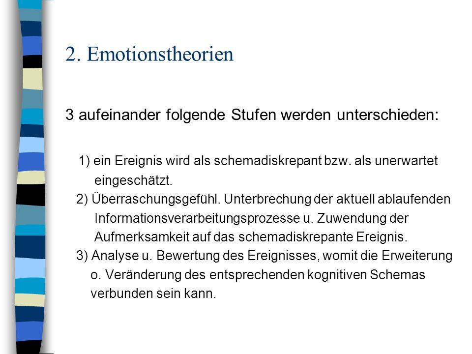 2. Emotionstheorien 3 aufeinander folgende Stufen werden unterschieden: 1) ein Ereignis wird als schemadiskrepant bzw. als unerwartet.