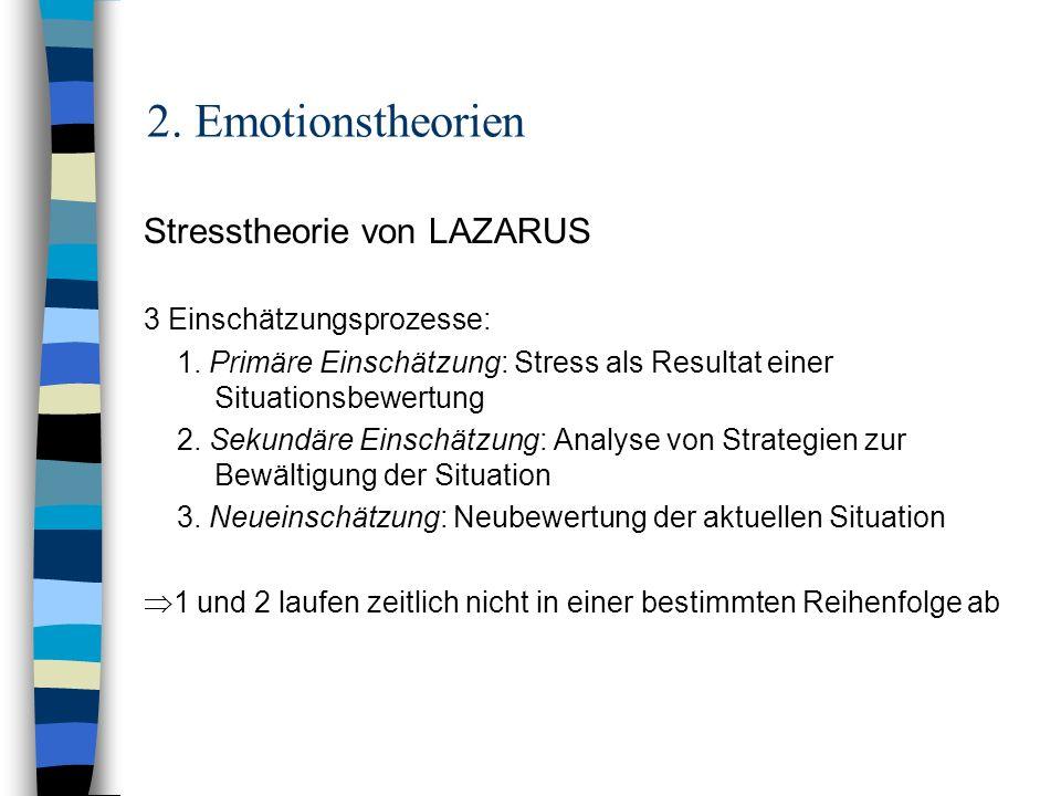 2. Emotionstheorien Stresstheorie von LAZARUS 3 Einschätzungsprozesse: