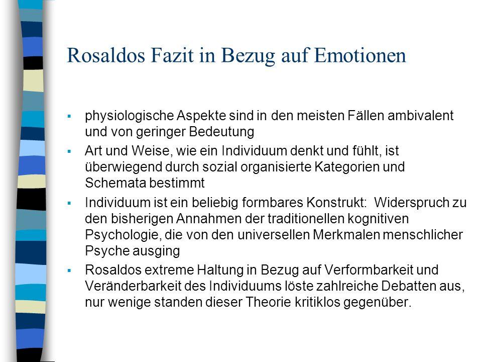 Rosaldos Fazit in Bezug auf Emotionen