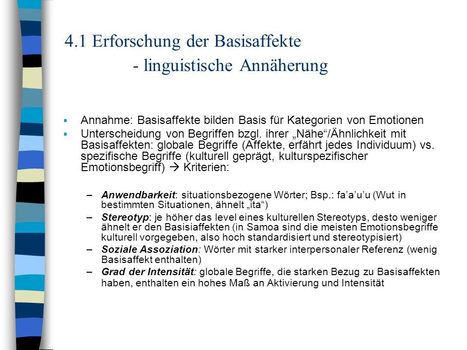 4.1 Erforschung der Basisaffekte - linguistische Annäherung