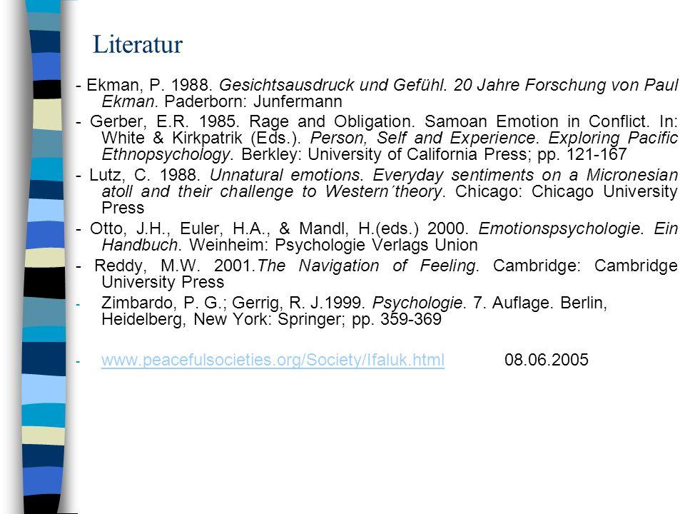 Literatur - Ekman, P. 1988. Gesichtsausdruck und Gefühl. 20 Jahre Forschung von Paul Ekman. Paderborn: Junfermann.