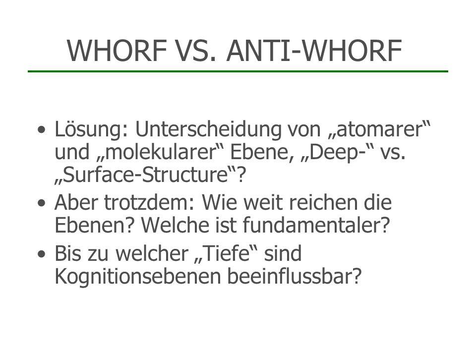 """WHORF VS. ANTI-WHORF Lösung: Unterscheidung von """"atomarer und """"molekularer Ebene, """"Deep- vs. """"Surface-Structure"""