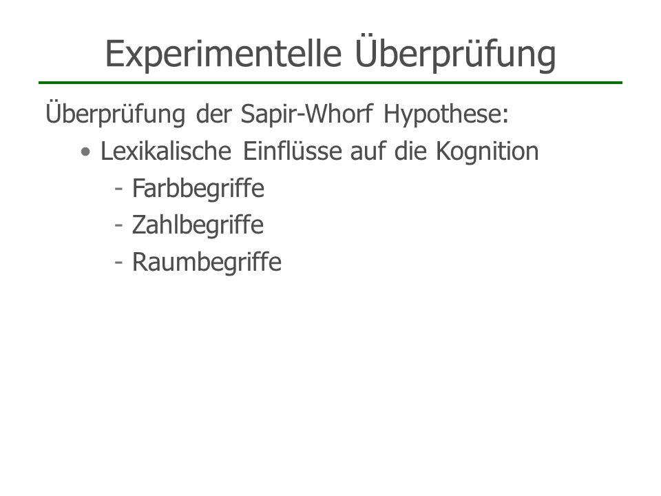 Experimentelle Überprüfung