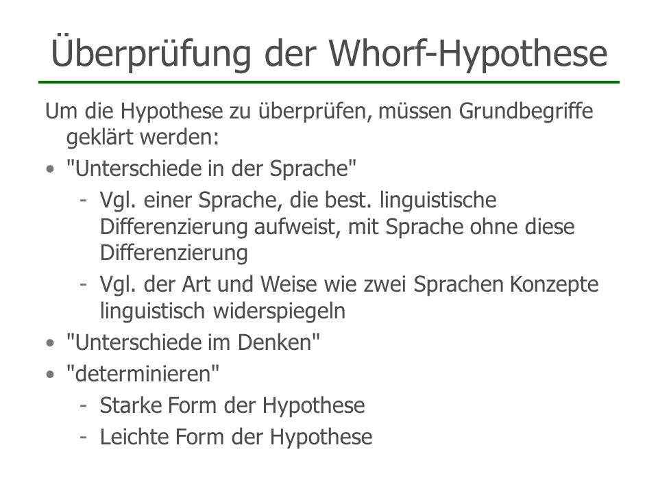 Überprüfung der Whorf-Hypothese