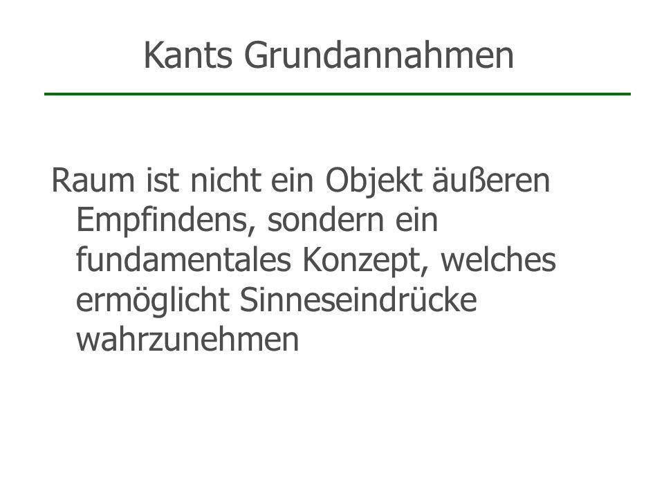 Kants GrundannahmenRaum ist nicht ein Objekt äußeren Empfindens, sondern ein fundamentales Konzept, welches ermöglicht Sinneseindrücke wahrzunehmen.