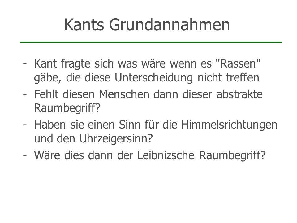 Kants Grundannahmen Kant fragte sich was wäre wenn es Rassen gäbe, die diese Unterscheidung nicht treffen.