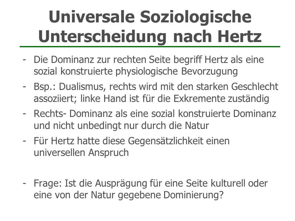 Universale Soziologische Unterscheidung nach Hertz