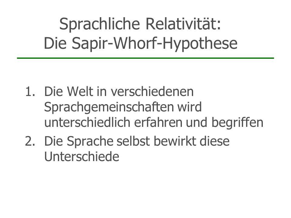 Sprachliche Relativität: Die Sapir-Whorf-Hypothese