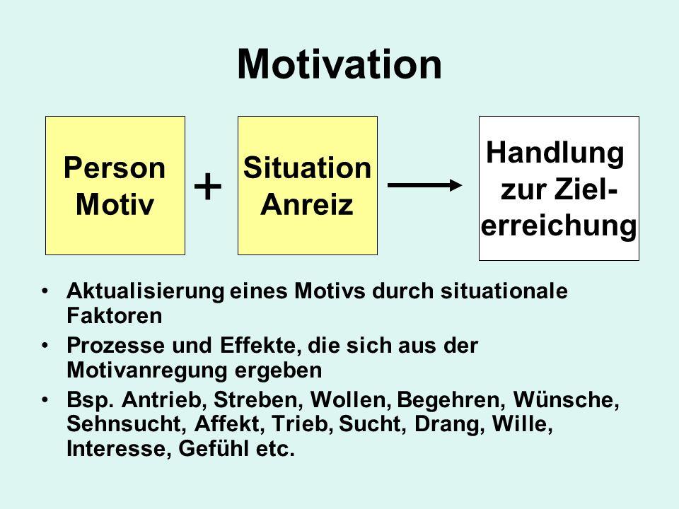 + Motivation Person Motiv Situation Anreiz Handlung zur Ziel-