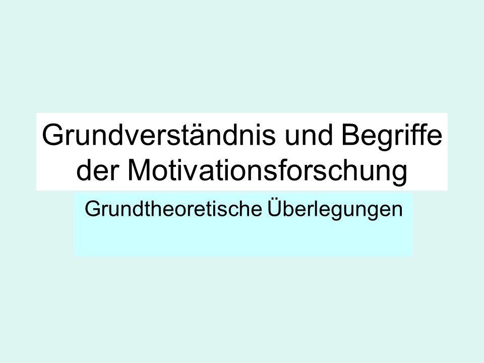 Grundverständnis und Begriffe der Motivationsforschung