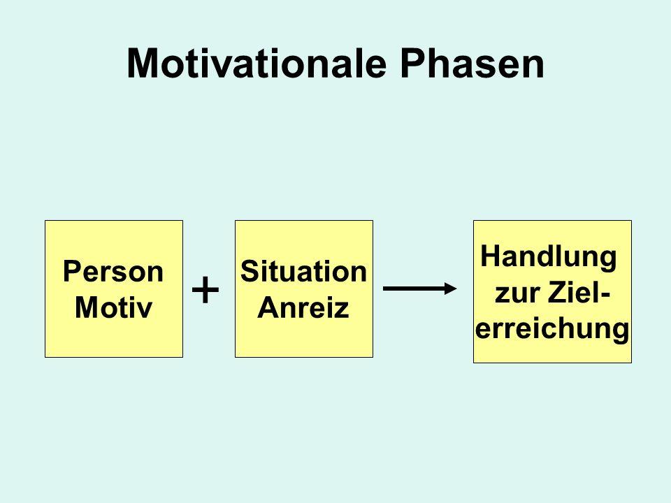 + Motivationale Phasen Person Motiv Situation Anreiz Handlung