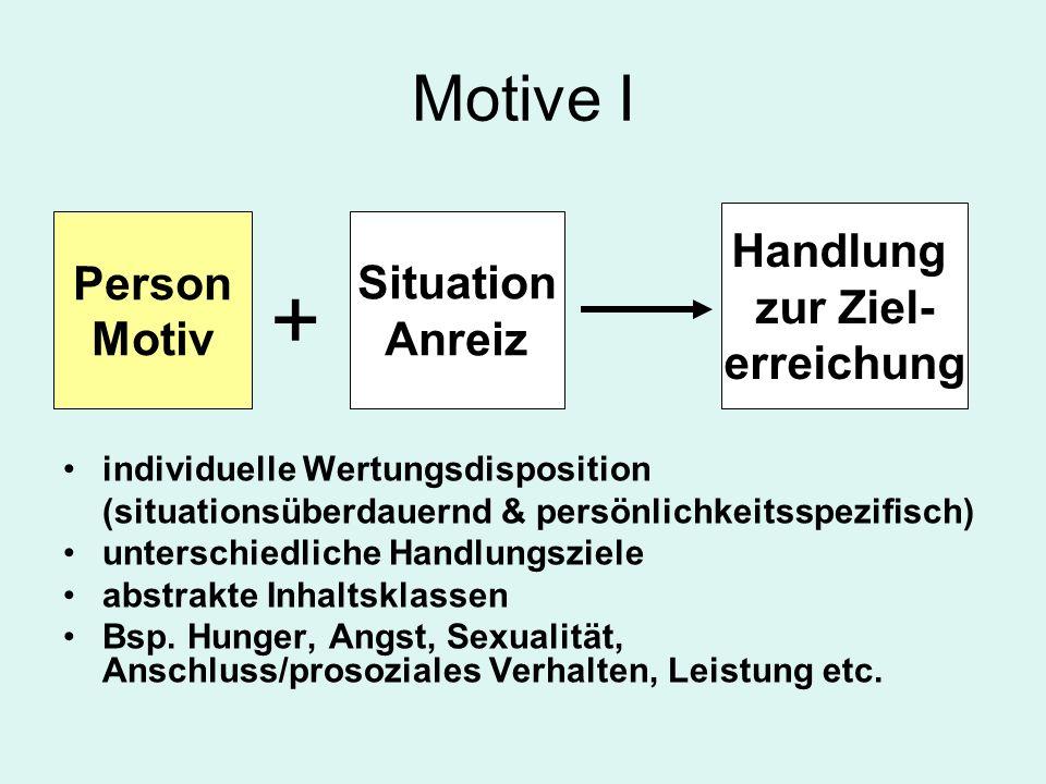 + Motive I Handlung zur Ziel- erreichung Person Motiv Situation Anreiz