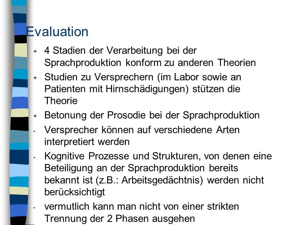 Evaluation 4 Stadien der Verarbeitung bei der Sprachproduktion konform zu anderen Theorien.