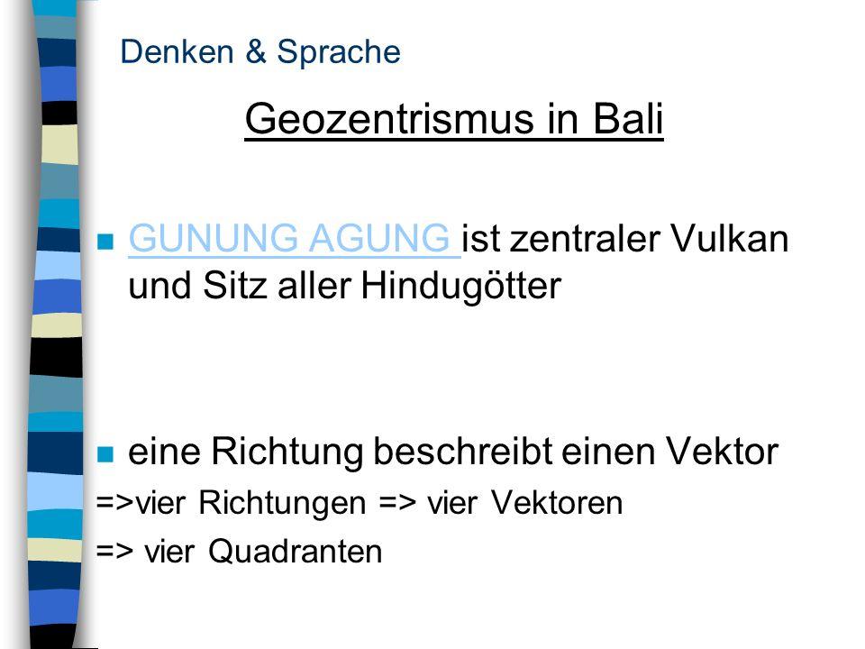 Denken & SpracheGeozentrismus in Bali. GUNUNG AGUNG ist zentraler Vulkan und Sitz aller Hindugötter.