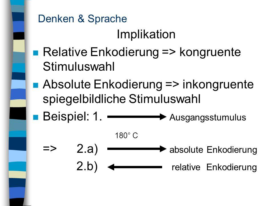 Relative Enkodierung => kongruente Stimuluswahl