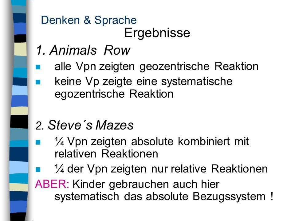 Ergebnisse 1. Animals Row Denken & Sprache