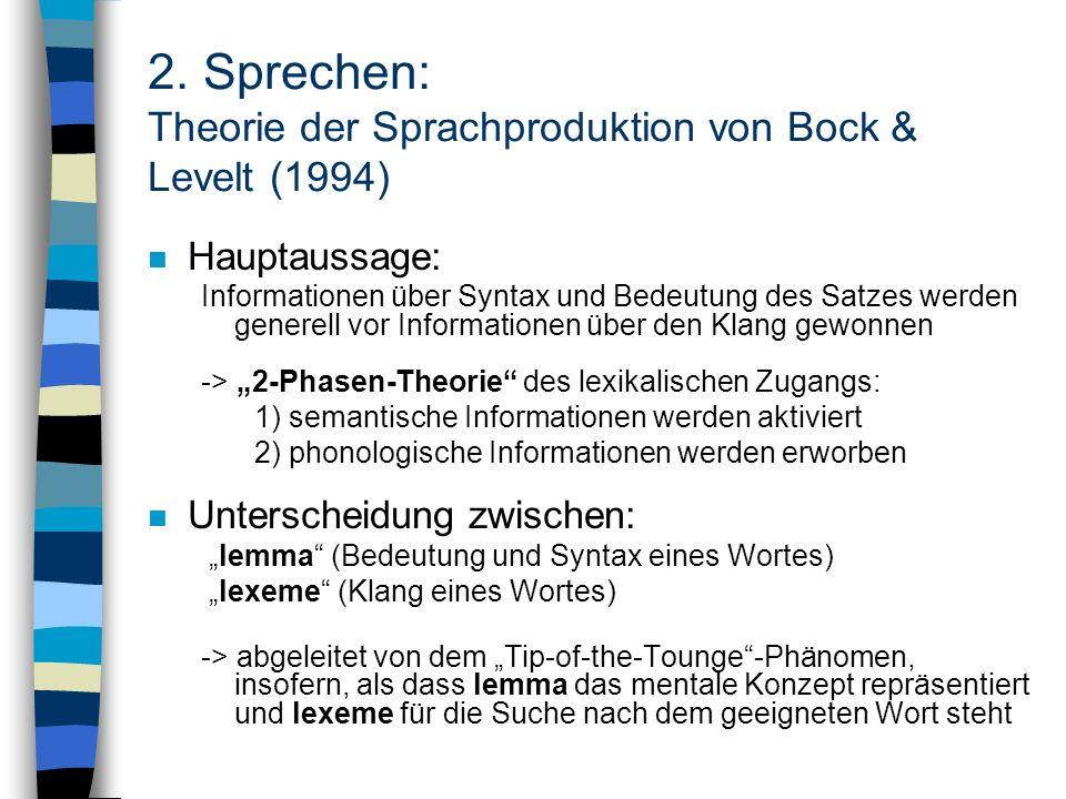 2. Sprechen: Theorie der Sprachproduktion von Bock & Levelt (1994)