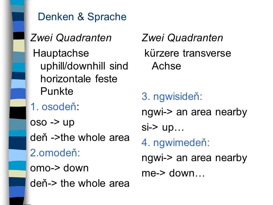 Denken & SpracheZwei Quadranten. Hauptachse uphill/downhill sind horizontale feste Punkte. 1. osodeň: