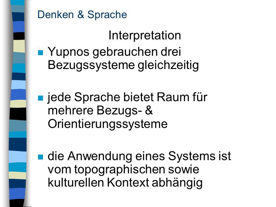 Yupnos gebrauchen drei Bezugssysteme gleichzeitig