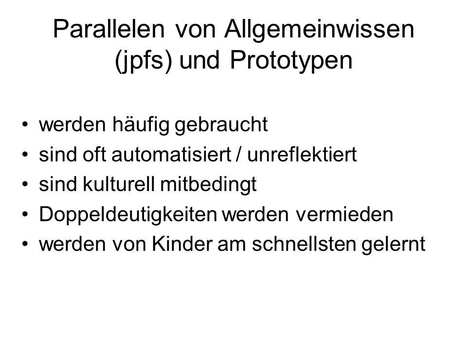 Parallelen von Allgemeinwissen (jpfs) und Prototypen