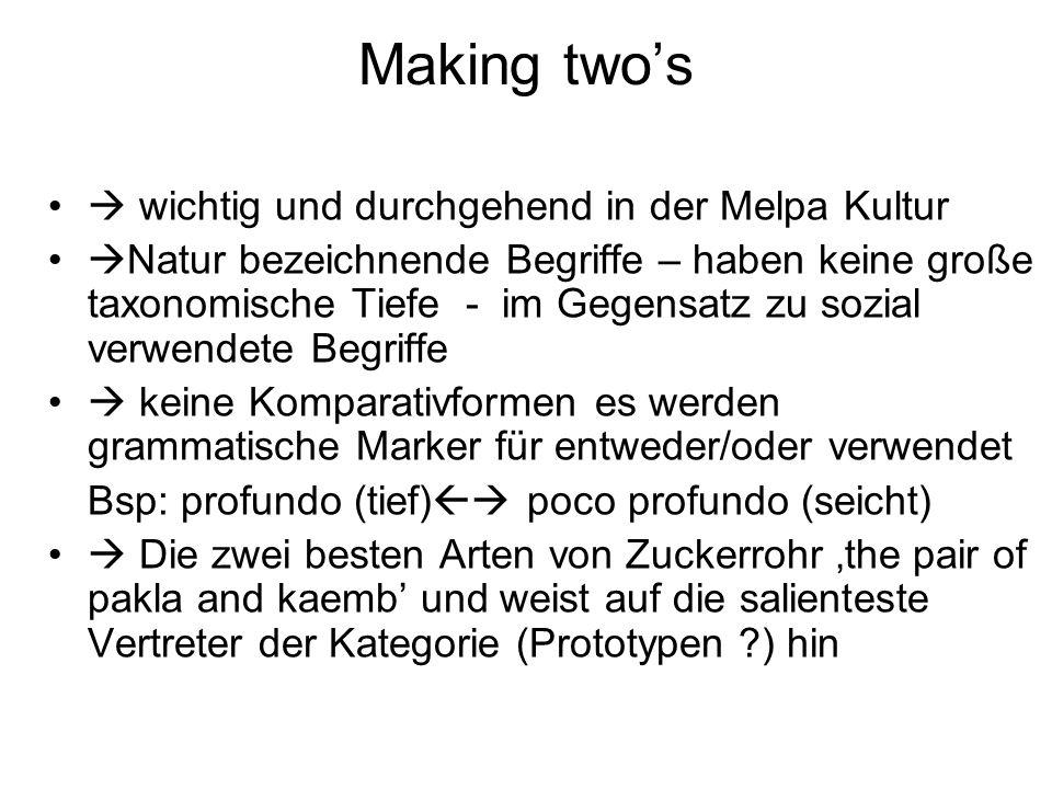 Making two's  wichtig und durchgehend in der Melpa Kultur