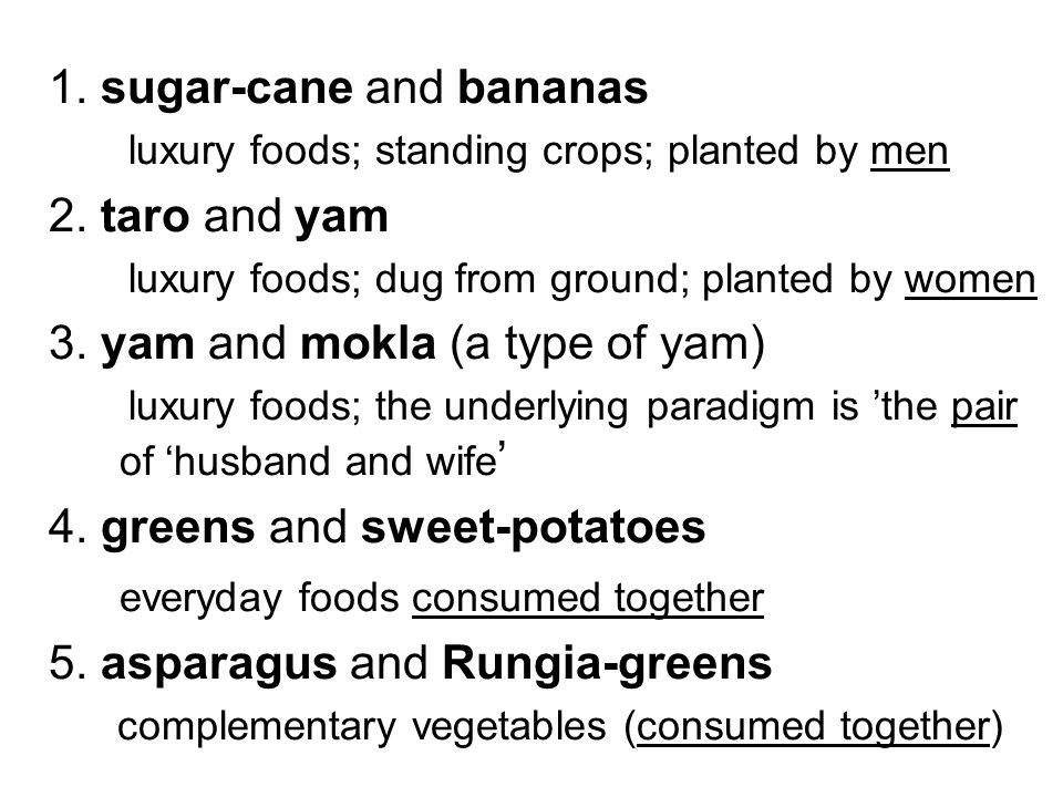 1. sugar-cane and bananas 2. taro and yam