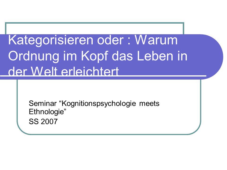 Seminar Kognitionspsychologie meets Ethnologie SS 2007