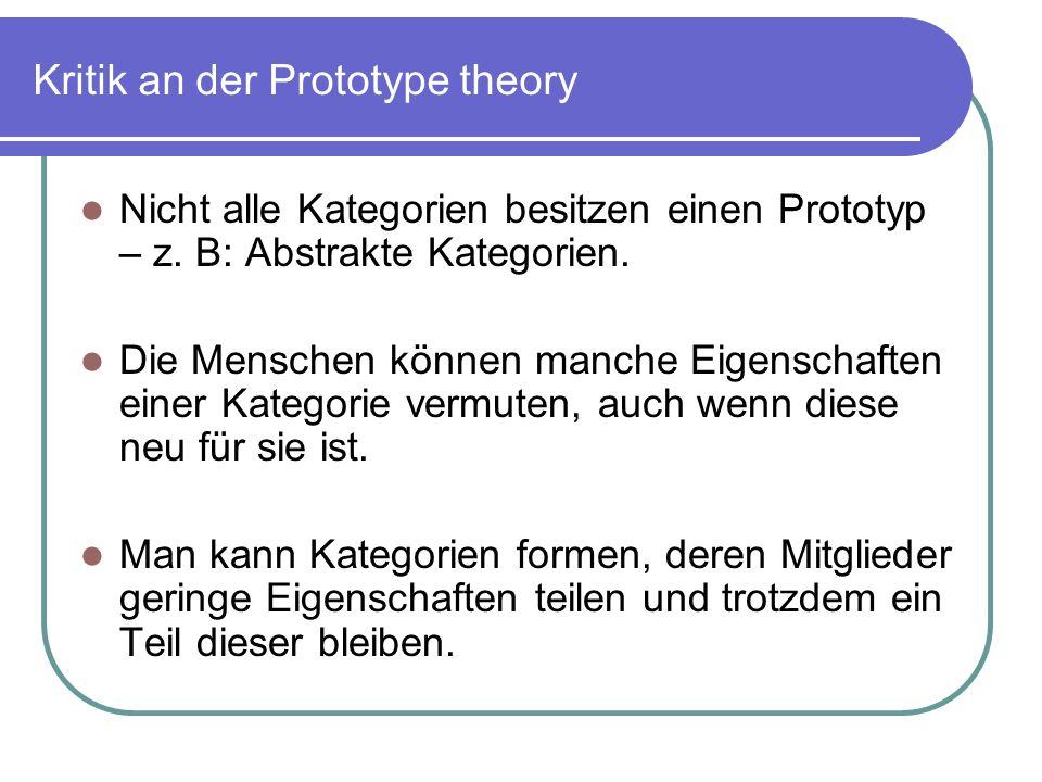 Kritik an der Prototype theory