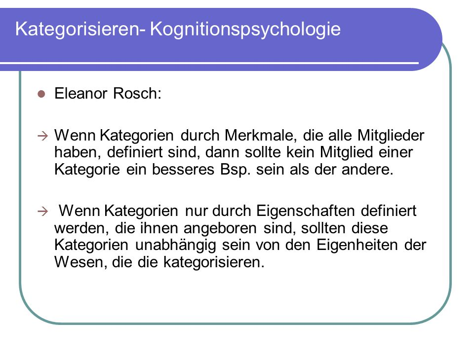 Kategorisieren- Kognitionspsychologie
