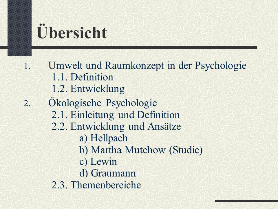 Übersicht Umwelt und Raumkonzept in der Psychologie 1.1. Definition 1.2. Entwicklung.