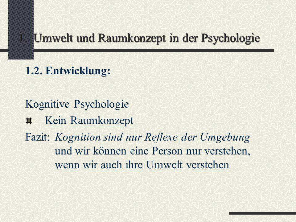 1. Umwelt und Raumkonzept in der Psychologie