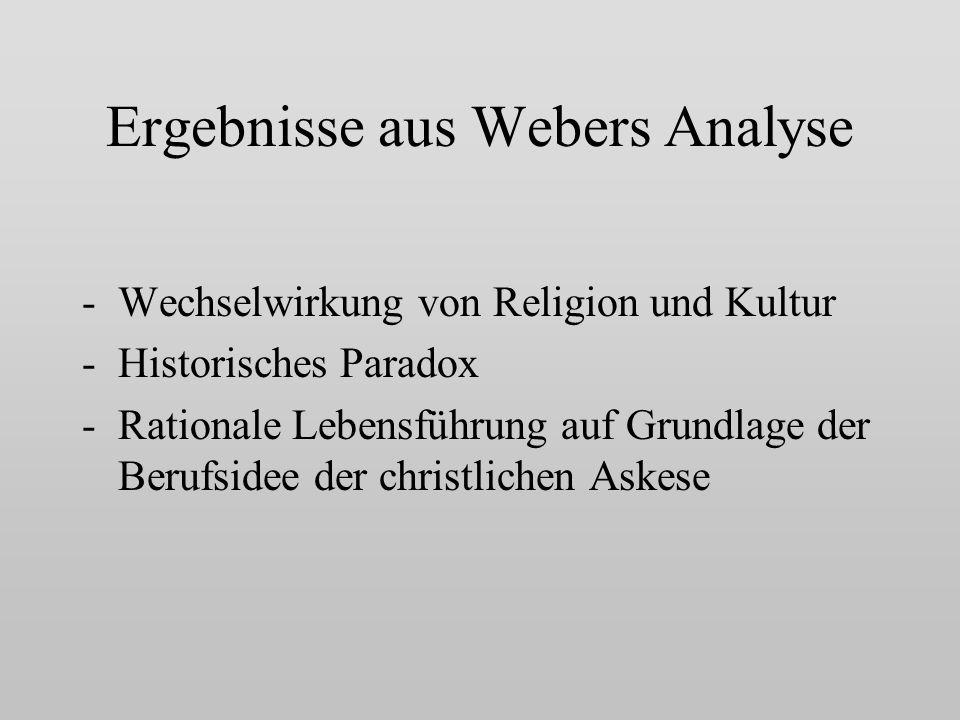 Ergebnisse aus Webers Analyse