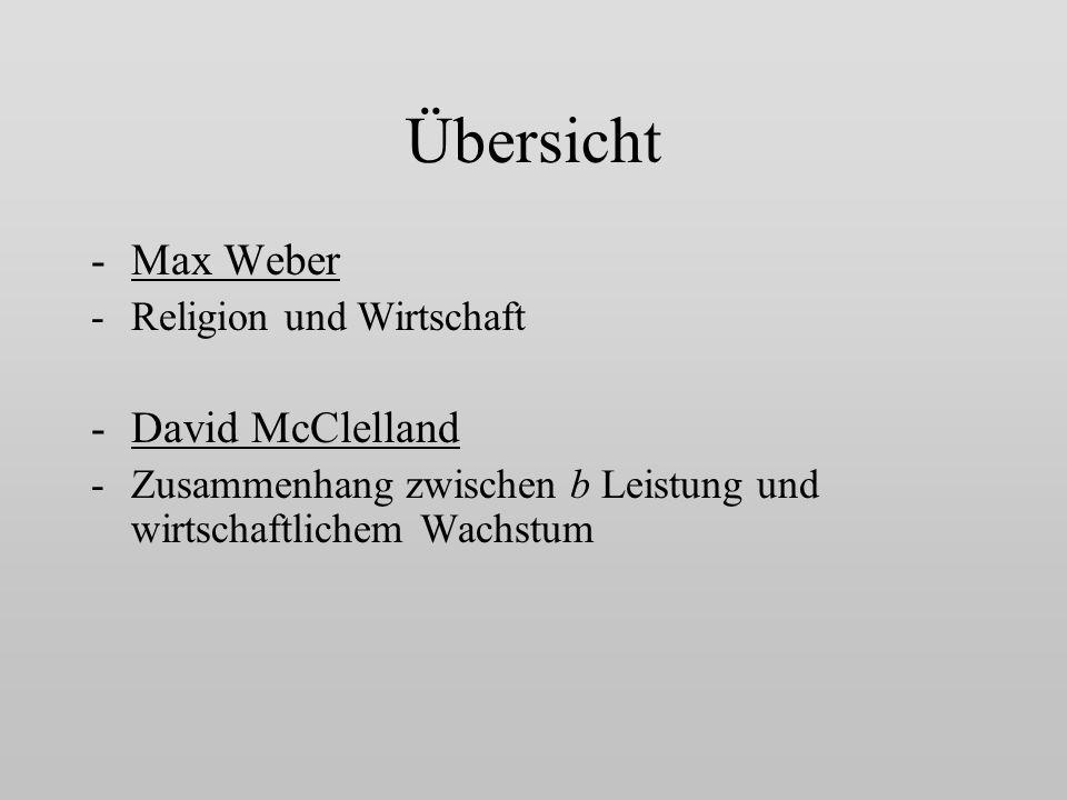 Übersicht Max Weber David McClelland Religion und Wirtschaft