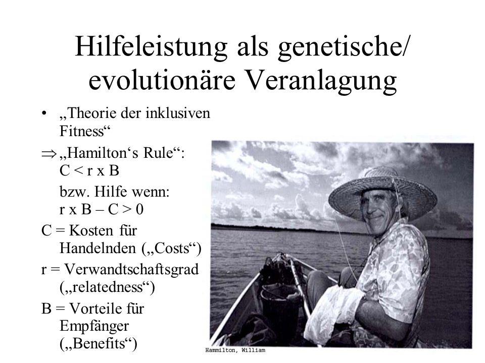 Hilfeleistung als genetische/ evolutionäre Veranlagung