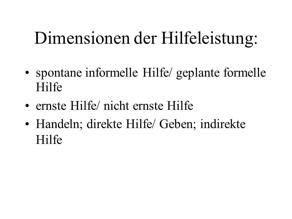 Dimensionen der Hilfeleistung: