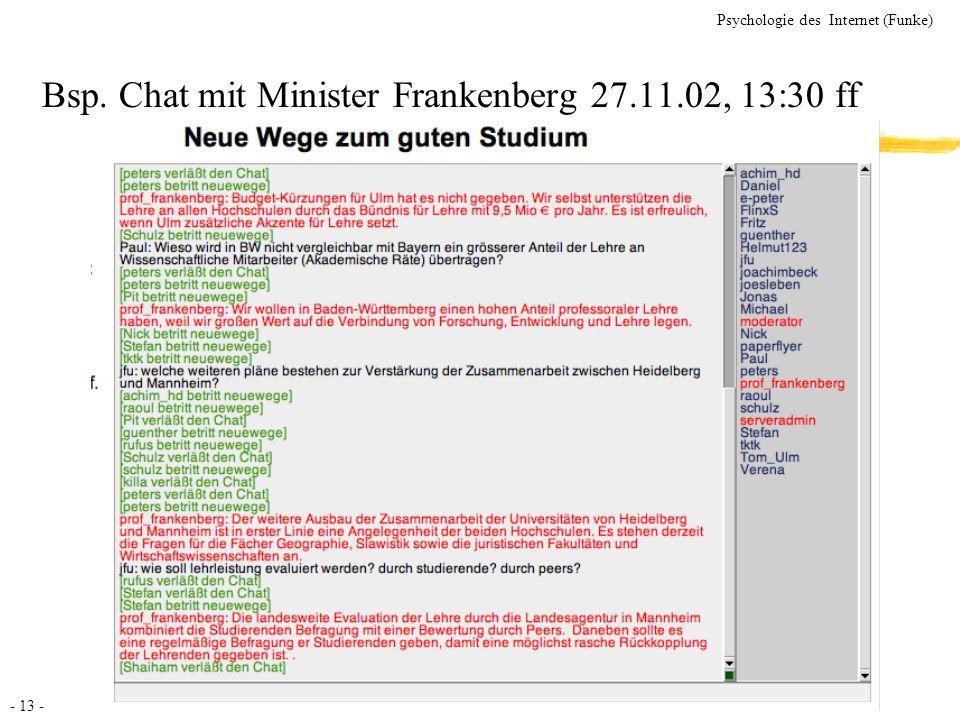 Bsp. Chat mit Minister Frankenberg 27.11.02, 13:30 ff