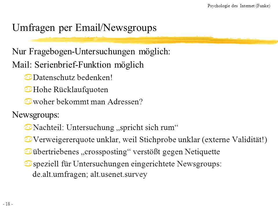 Umfragen per Email/Newsgroups