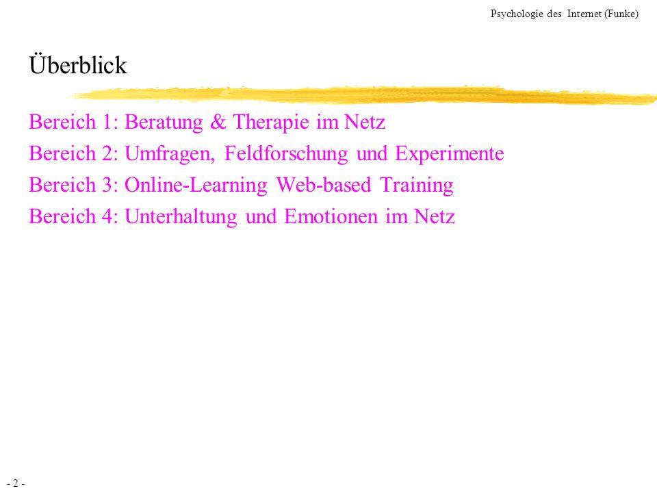 Überblick Bereich 1: Beratung & Therapie im Netz