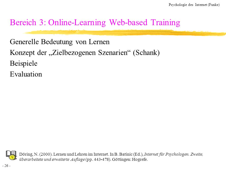 Bereich 3: Online-Learning Web-based Training