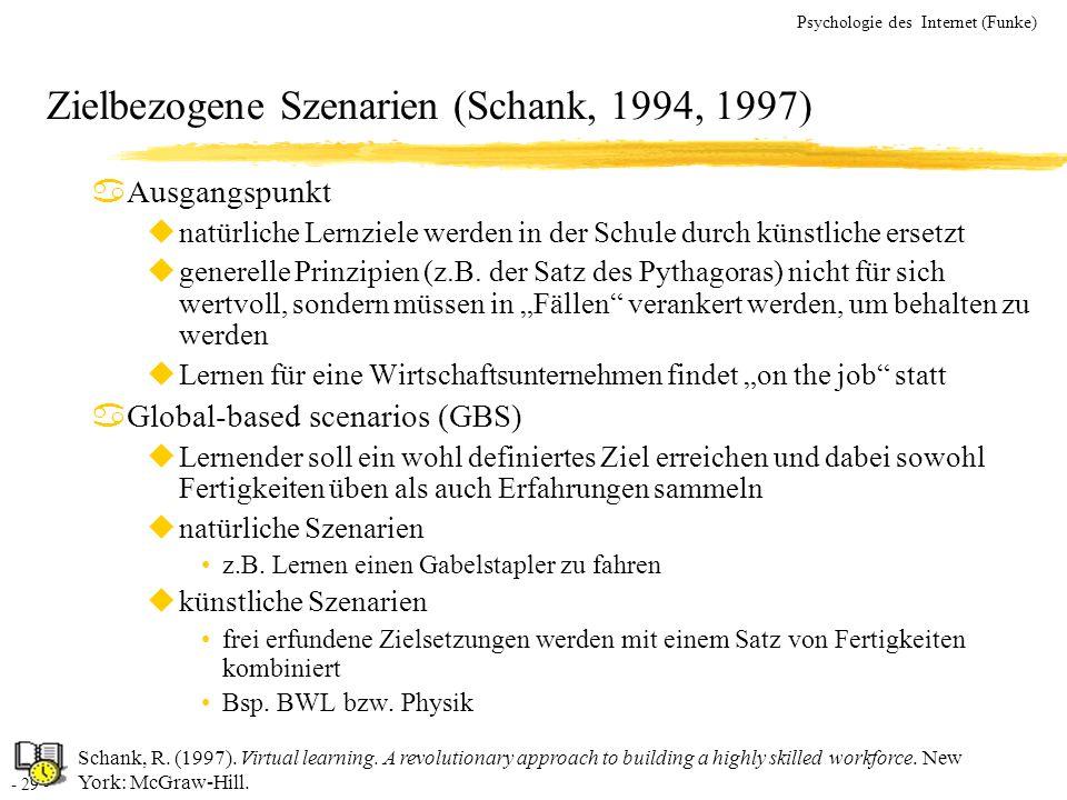 Zielbezogene Szenarien (Schank, 1994, 1997)