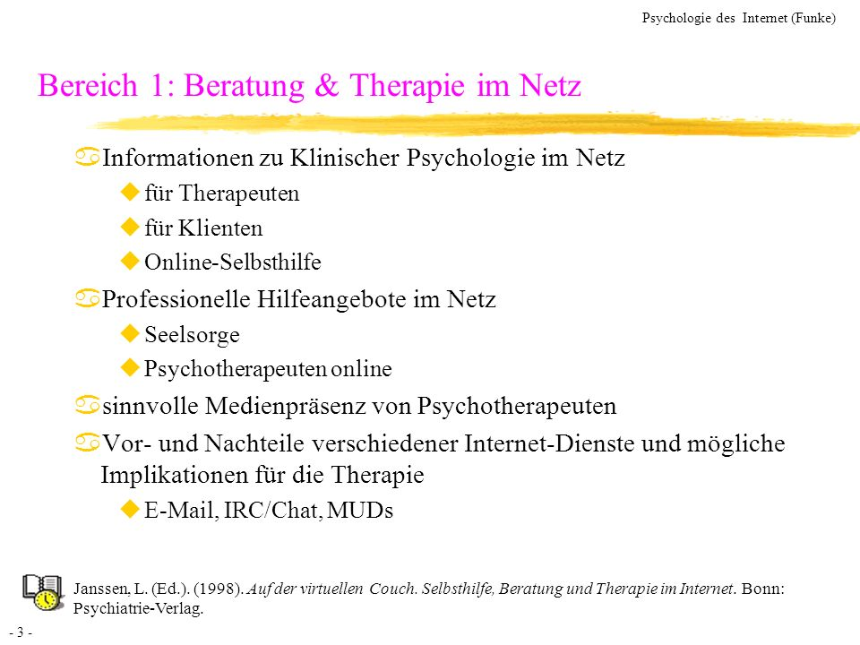Bereich 1: Beratung & Therapie im Netz