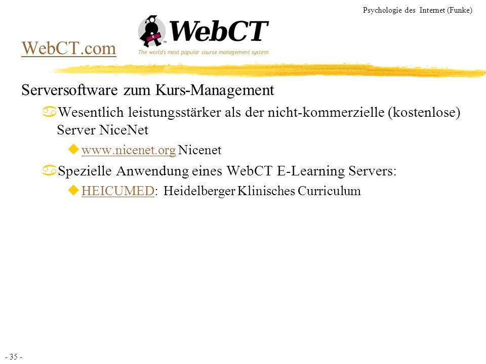 WebCT.com Serversoftware zum Kurs-Management
