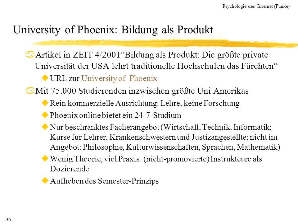 University of Phoenix: Bildung als Produkt