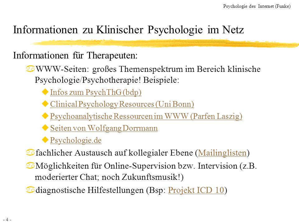 Informationen zu Klinischer Psychologie im Netz