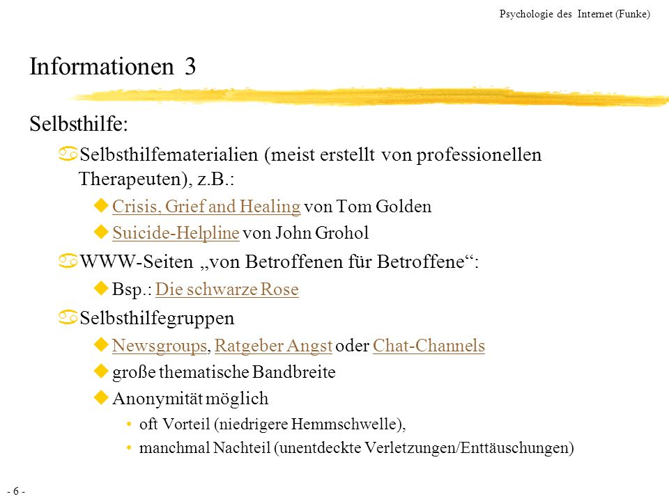 Informationen 3 Selbsthilfe: