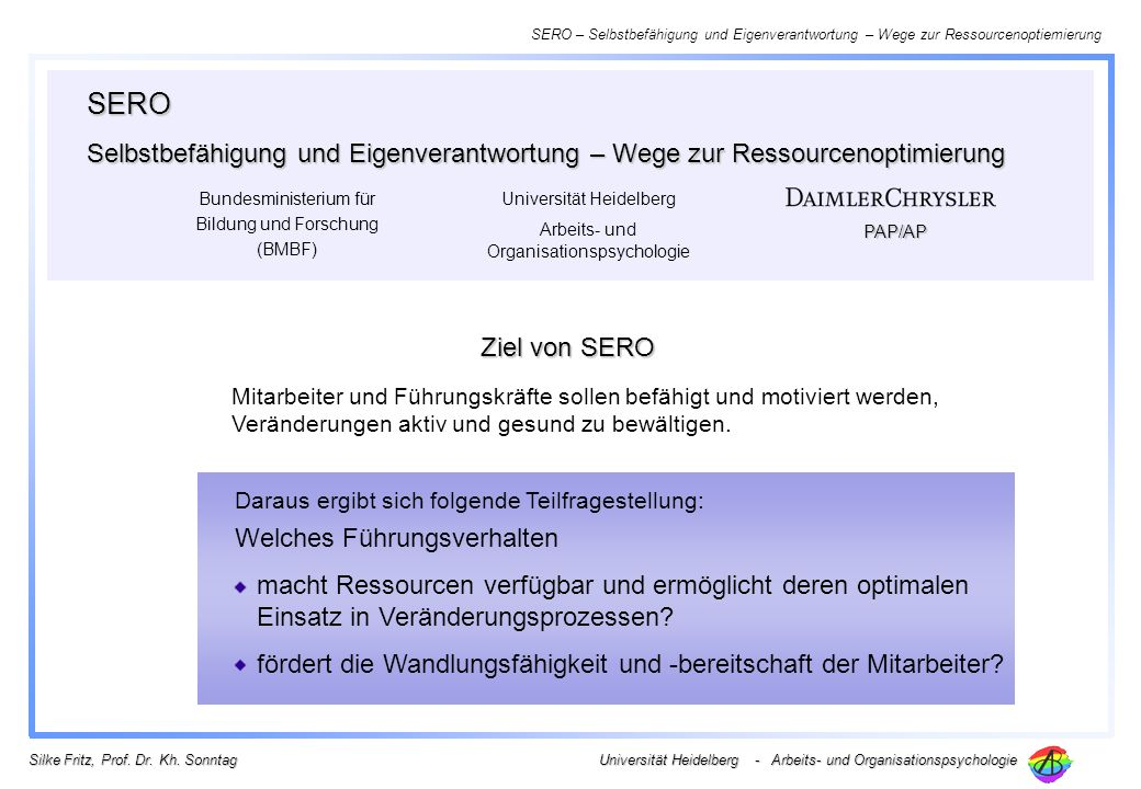 SERO Selbstbefähigung und Eigenverantwortung – Wege zur Ressourcenoptimierung. Bundesministerium für Bildung und Forschung (BMBF)