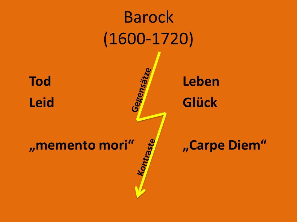 """Barock (1600-1720) Tod Leid """"memento mori Leben Glück """"Carpe Diem"""