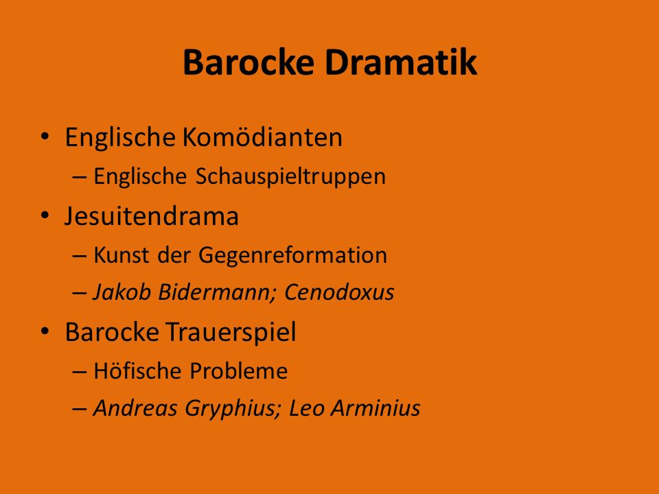 Barocke Dramatik Englische Komödianten Jesuitendrama