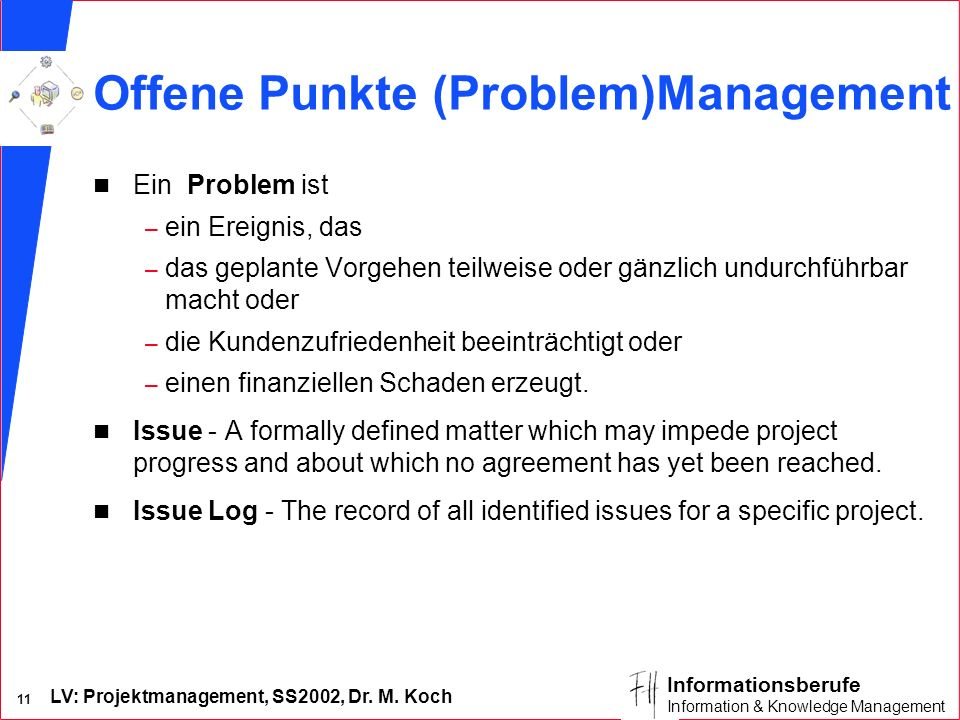 Offene Punkte (Problem)Management